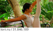 Купить «Beautiful young ballerina doing stretching exercise on bench in the park  4k», видеоролик № 31846189, снято 26 сентября 2018 г. (c) Wavebreak Media / Фотобанк Лори