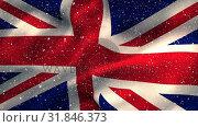 Flag of the UK and snow. Стоковое видео, агентство Wavebreak Media / Фотобанк Лори
