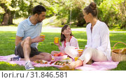 happy family drinking juice on picnic at park. Стоковая анимация, видеограф Syda Productions / Фотобанк Лори