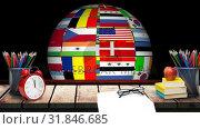 Купить «Spinning multinational Globe and school supplies», видеоролик № 31846685, снято 20 ноября 2018 г. (c) Wavebreak Media / Фотобанк Лори