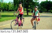 Купить «Children in helmet on bicycle by cycleway in summer park», видеоролик № 31847065, снято 24 июля 2019 г. (c) Gennadiy Poznyakov / Фотобанк Лори