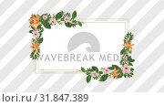 photo frame for copy space with decorative pink and orange flowers. Стоковое видео, агентство Wavebreak Media / Фотобанк Лори