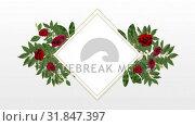 Купить «photo frame for copy space with decorative rose flower», видеоролик № 31847397, снято 29 ноября 2018 г. (c) Wavebreak Media / Фотобанк Лори