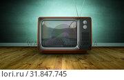 Купить «Zoom in retro TV screen blur noise, against green wall», видеоролик № 31847745, снято 29 ноября 2018 г. (c) Wavebreak Media / Фотобанк Лори