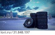 Купить «Animated snow with wheels», видеоролик № 31848197, снято 11 декабря 2018 г. (c) Wavebreak Media / Фотобанк Лори