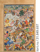 'Krishna and Balarma Fighting the Enemy', Folio from a Harivamsa (The Legend of Hari (Krishna)), ca. 1590–95, Attributed to present-day Pakistan, probably... (2017 год). Редакционное фото, фотограф © Copyright Artokoloro Quint Lox Limited / age Fotostock / Фотобанк Лори