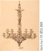 Купить «Designs for a Chandelier, 19th century, Pen and brown ink, sheet: 8 3/4 x 6 3/4 in. (22.2 x 17.1 cm), Drawings, Anonymous, French, 19th century», фото № 31853369, снято 21 мая 2017 г. (c) age Fotostock / Фотобанк Лори