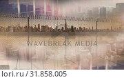 Купить «Skyline on sunny day with fence », видеоролик № 31858005, снято 14 декабря 2018 г. (c) Wavebreak Media / Фотобанк Лори