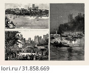 THE FIRST COMMEMORATION AT THE UNIVERSITY OF DURHAM: THE CRICKET MATCH: OLD HARROVIANS, VARSITY WON BY SIX RUNS, GARDEN PARTY IN THE CASTLE GROUNDS, THE PROCESSION OF BOATS ON THE WEAR, 1889, UK. (2014 год). Редакционное фото, фотограф Artokoloro / age Fotostock / Фотобанк Лори