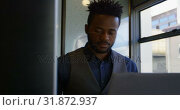 Купить «Front view of young black businessman working on laptop at desk in a modern office 4k», видеоролик № 31872937, снято 13 октября 2018 г. (c) Wavebreak Media / Фотобанк Лори
