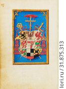 Blazon of Cardinal Albrecht von Brandenburg, Simon Bening, Flemish, about 1483 - 1561, Bruges, Belgium, Europe, about 1525 - 1530, Tempera colors, gold... (2013 год). Редакционное фото, фотограф Artokoloro / age Fotostock / Фотобанк Лори
