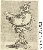 Купить «Nautilus Goblet, resting on the back of a satyr, Balthazar van den Bos, Cornelis Floris (II), Hieronymus Cock, 1548», фото № 31878021, снято 15 января 2015 г. (c) age Fotostock / Фотобанк Лори