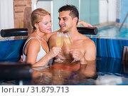 Купить «Romantic couple is relaxing with glasses of vine», фото № 31879713, снято 18 июля 2017 г. (c) Яков Филимонов / Фотобанк Лори