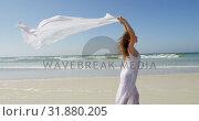 Купить «Woman standing by the sea with a waving scarf.at beach 4k», видеоролик № 31880205, снято 14 ноября 2018 г. (c) Wavebreak Media / Фотобанк Лори