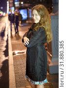 Купить «Night girl prostitute standing on urban street and waiting for a clients», фото № 31880385, снято 24 июля 2015 г. (c) Кекяляйнен Андрей / Фотобанк Лори