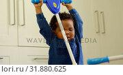 Купить «Front view of cute little black kid playing in a comfortable home 4k», видеоролик № 31880625, снято 19 октября 2018 г. (c) Wavebreak Media / Фотобанк Лори