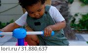 Купить «Close-up of cute little black boy playing with tricycle in back yard of their home 4k», видеоролик № 31880637, снято 19 октября 2018 г. (c) Wavebreak Media / Фотобанк Лори