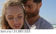 Купить «Romantic couple embracing each other at beach 4k», видеоролик № 31881033, снято 14 ноября 2018 г. (c) Wavebreak Media / Фотобанк Лори