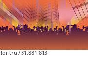 Купить «Shadow of a cartoon party with a city as background», видеоролик № 31881813, снято 20 декабря 2018 г. (c) Wavebreak Media / Фотобанк Лори