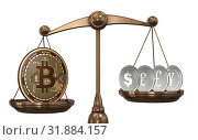 Scales with bitcoins and other currencies - 3d rendering. Стоковое фото, фотограф Elnur / Фотобанк Лори