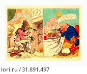 Купить «French liberty British slavery, Gillray, James, 1756-1815, engraving 1792, A design in two compartments. On the left is a lean and ragged sansculotte,...», фото № 31891497, снято 11 июля 2013 г. (c) age Fotostock / Фотобанк Лори