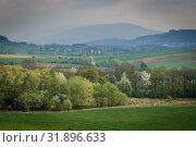 Aerial view of rural landscape near Bielsko-Biala city in Silesian Voivodeship of Poland. Стоковое фото, фотограф Konrad Zelazowski / easy Fotostock / Фотобанк Лори