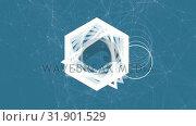 Купить «White geometric shapes moving on blue background», видеоролик № 31901529, снято 22 января 2019 г. (c) Wavebreak Media / Фотобанк Лори