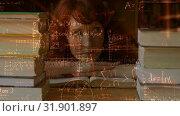 Купить «Digital animation of woman looking a books», видеоролик № 31901897, снято 22 января 2019 г. (c) Wavebreak Media / Фотобанк Лори