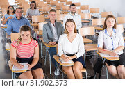 Купить «Group of students on lecture», фото № 31902373, снято 25 июля 2018 г. (c) Яков Филимонов / Фотобанк Лори