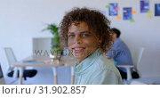 Купить «Handsome mixed-race male executive sitting at desk in modern office 4k», видеоролик № 31902857, снято 18 ноября 2018 г. (c) Wavebreak Media / Фотобанк Лори