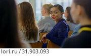 Купить «Businesswoman sitting and smiling in the business seminar 4k», видеоролик № 31903093, снято 21 ноября 2018 г. (c) Wavebreak Media / Фотобанк Лори