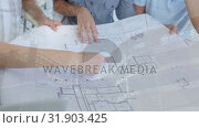 Купить «Architects discussing blueprints with construction site », видеоролик № 31903425, снято 22 января 2019 г. (c) Wavebreak Media / Фотобанк Лори