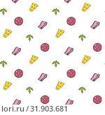 Vector seamless pattern with slices of salami sausage. Стоковая иллюстрация, иллюстратор Альдана Прокофьева / Фотобанк Лори