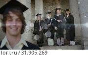 Купить «Group of happy international students in bachelor gowns with diplomas», видеоролик № 31905269, снято 22 января 2019 г. (c) Wavebreak Media / Фотобанк Лори