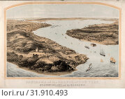 Panorama of the harbor of New York, Staten Island and the narrows, Nagel & Weingärtner, printmaker, New York : Goupil & Co., 1854., 1 print : lithograph, 2 color , 40 7/8 x 29 1/2 in. (2014 год). Редакционное фото, фотограф Artokoloro / age Fotostock / Фотобанк Лори