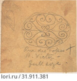 Metalwork Design, from Rue des Fosses St. Victor, ca. 1880, Graphite on tracing paper, sheet: 2 3/8 x 2 9/16 in. (6.1 x 6.5 cm), Richardson Ellson & Co. (British) (2017 год). Редакционное фото, фотограф © Copyright Artokoloro Quint Lox Limited / age Fotostock / Фотобанк Лори