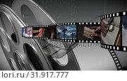 Купить «Film strip with different videos», видеоролик № 31917777, снято 13 февраля 2019 г. (c) Wavebreak Media / Фотобанк Лори