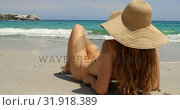 Купить «Rear view of Caucasian woman in hat relaxing on the beach 4k», видеоролик № 31918389, снято 12 ноября 2018 г. (c) Wavebreak Media / Фотобанк Лори