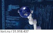 Купить «Robot arm picking up a globe with computer interface», видеоролик № 31918437, снято 5 марта 2019 г. (c) Wavebreak Media / Фотобанк Лори
