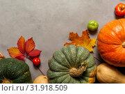 Купить «Orange, green and yellow pumpkins on old textured background», фото № 31918509, снято 11 октября 2018 г. (c) Pavel Biryukov / Фотобанк Лори