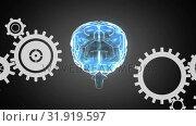 Купить «Human brain and gears», видеоролик № 31919597, снято 13 февраля 2019 г. (c) Wavebreak Media / Фотобанк Лори