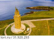 Tower of Hercules (Torre de Hercules) lighthouse located in the city of La Coruna. Galicia, Spain (2019 год). Стоковое фото, фотограф Яков Филимонов / Фотобанк Лори