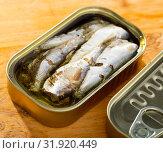Купить «Tin can with smoked sprats, sardines, closeup», фото № 31920449, снято 14 декабря 2019 г. (c) Яков Филимонов / Фотобанк Лори
