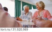 Купить «Group of Mixed-race senior friends interacting with each other on dining table 4k», видеоролик № 31920989, снято 22 ноября 2018 г. (c) Wavebreak Media / Фотобанк Лори