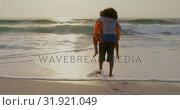 Купить «Rear view of man giving piggyback ride to woman on the beach 4k», видеоролик № 31921049, снято 12 ноября 2018 г. (c) Wavebreak Media / Фотобанк Лори