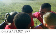 Купить «Male trainer interacting with kids in the boot camp 4k», видеоролик № 31921877, снято 16 марта 2017 г. (c) Wavebreak Media / Фотобанк Лори