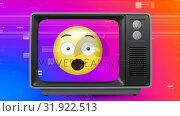 Купить «Retro television showing chocking emoji on vintage and sizzling background», видеоролик № 31922513, снято 5 марта 2019 г. (c) Wavebreak Media / Фотобанк Лори