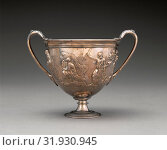 Купить «Two-handled Cup with Relief Decoration, Unknown, Roman Empire, 1st century, Silver, Object: H: 12.5 cm, W: 16.3 cm, Diam.: 11.4 cm», фото № 31930945, снято 3 октября 2013 г. (c) age Fotostock / Фотобанк Лори