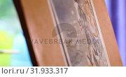 Купить «Painting on a canvas at home 4k», видеоролик № 31933317, снято 9 марта 2018 г. (c) Wavebreak Media / Фотобанк Лори