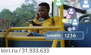 Купить «Woman browsing on her phone while riding a bus 4k», видеоролик № 31933633, снято 5 апреля 2019 г. (c) Wavebreak Media / Фотобанк Лори
